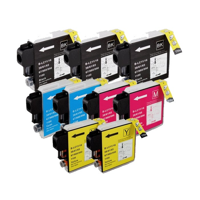 Brother LC65 Compatible Non-refillable Ink Cartridges (Pack of Nine)