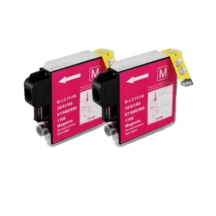 Brother LC61 Compatible Magenta Ink Cartridge (Pack of 2)