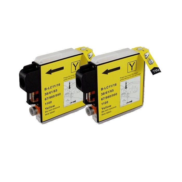 Brother LC61 Compatible Yellow Ink Cartridge (Pack of 2)