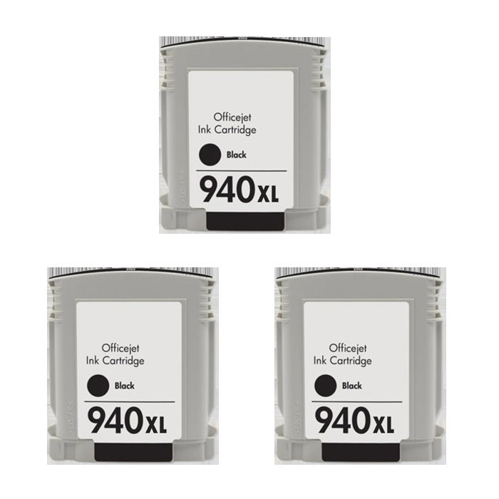 Hewlett Packard 940XL Black Ink Cartridges (Pack of 3) (Remanufactured)