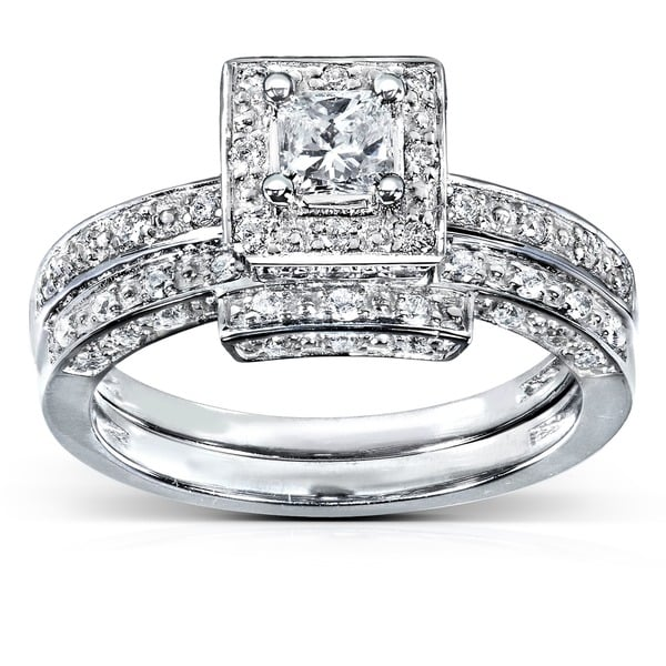 Annello 14k White Gold 5/8ct TDW Diamond Bridal Ring Set