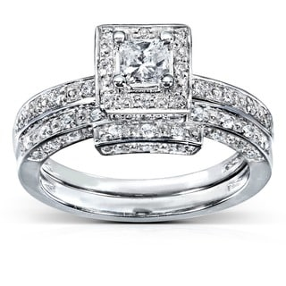 Annello by Kobelli 14k White Gold 5/8ct TDW Diamond Bridal Ring Set (H-I, I1-I2)