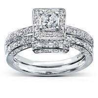 Annello 14k White Gold 5/8ct TDW Diamond Bridal Ring Set