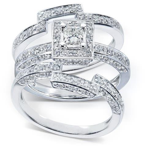 Annello by Kobelli 14k Gold 4/5ct TDW Diamond 3-piece Halo Bridal Ring Set