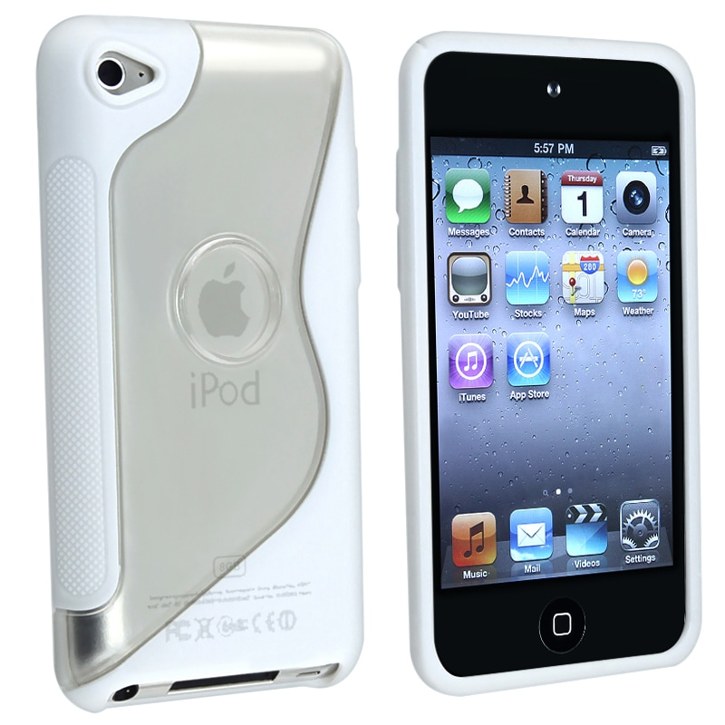 Frost Clear/ White TPU Rubber Case for Apple iPod touch 4th Generation