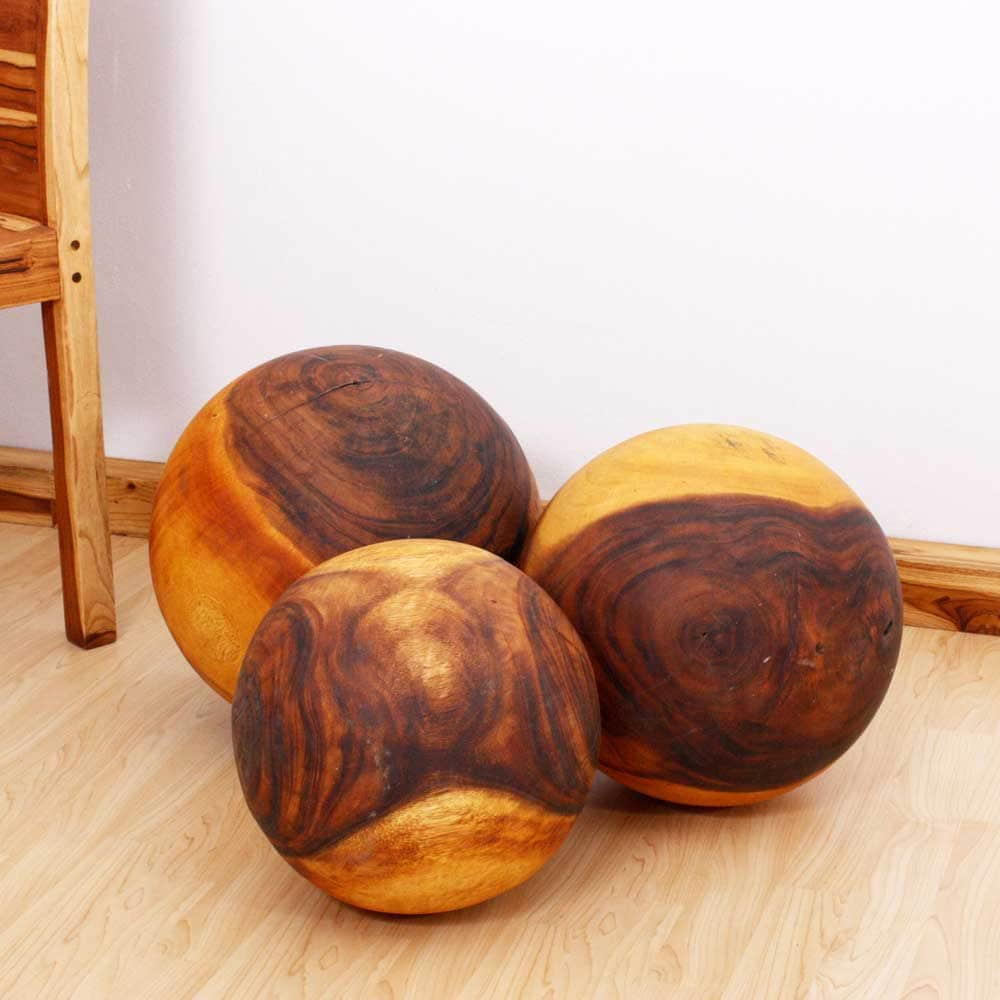 Handmade set of three monkey pod wood decorative