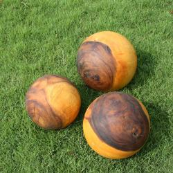 Set of Three Monkey Pod Wood Decorative Wood Ball (Thailand)