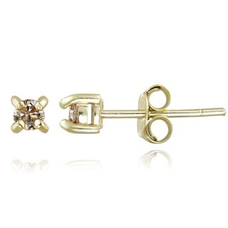 DB Designs 18k Yellow Gold over Silver 1/4ct TDW Champagne Diamond Stud Earrings