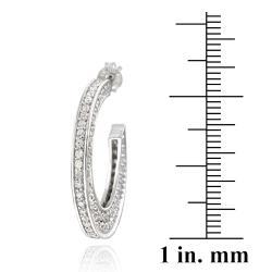 Icz Stonez Sterling Silver Cubic Zirconia Flat Open Hoop Earrings