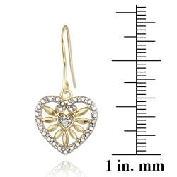 DB Designs 18k Yellow Gold over Silver White Diamond Accent Heart Dangle Earrings - Thumbnail 2