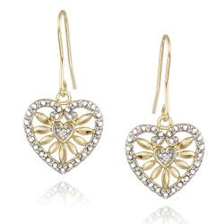 DB Designs 18k Yellow Gold over Silver White Diamond Accent Heart Dangle Earrings