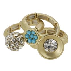 Journee Collection Goldtone Rhinestone 3-piece Stackable Ring Set - Thumbnail 1