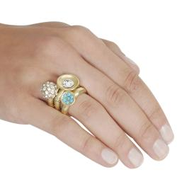 Journee Collection Goldtone Rhinestone 3-piece Stackable Ring Set - Thumbnail 2