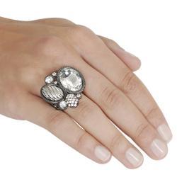 Journee Collection Black Rhodium Rhinestone Stretch Ring