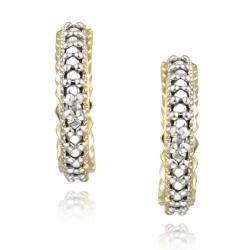 DB Designs 18k Yellow Gold over Silver Diamond Accent J-style Cuff Earrings