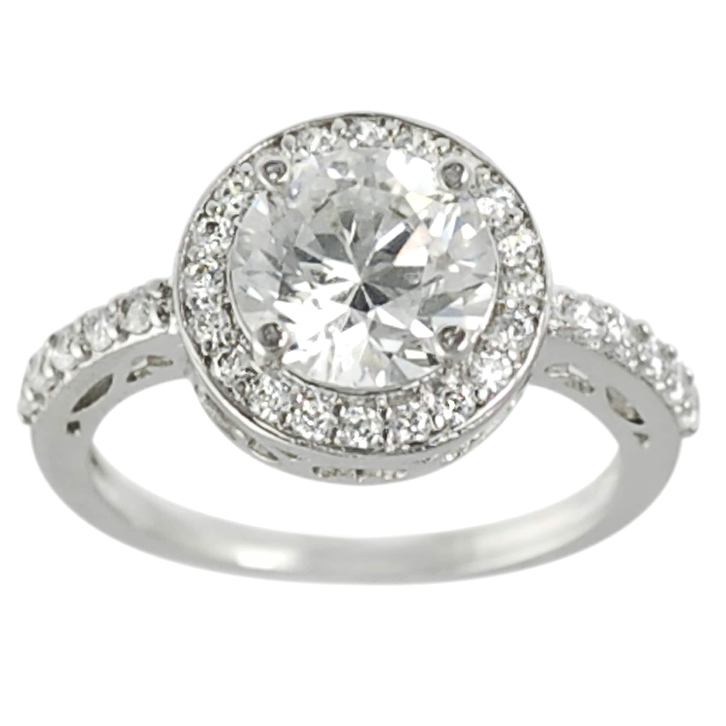 Journee Collection Rhodium-plated Round Cubic Zirconia Engagement-style Ring