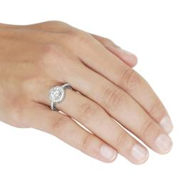 Journee Collection Rhodium-plated Round Cubic Zirconia Engagement-style Ring - Thumbnail 2