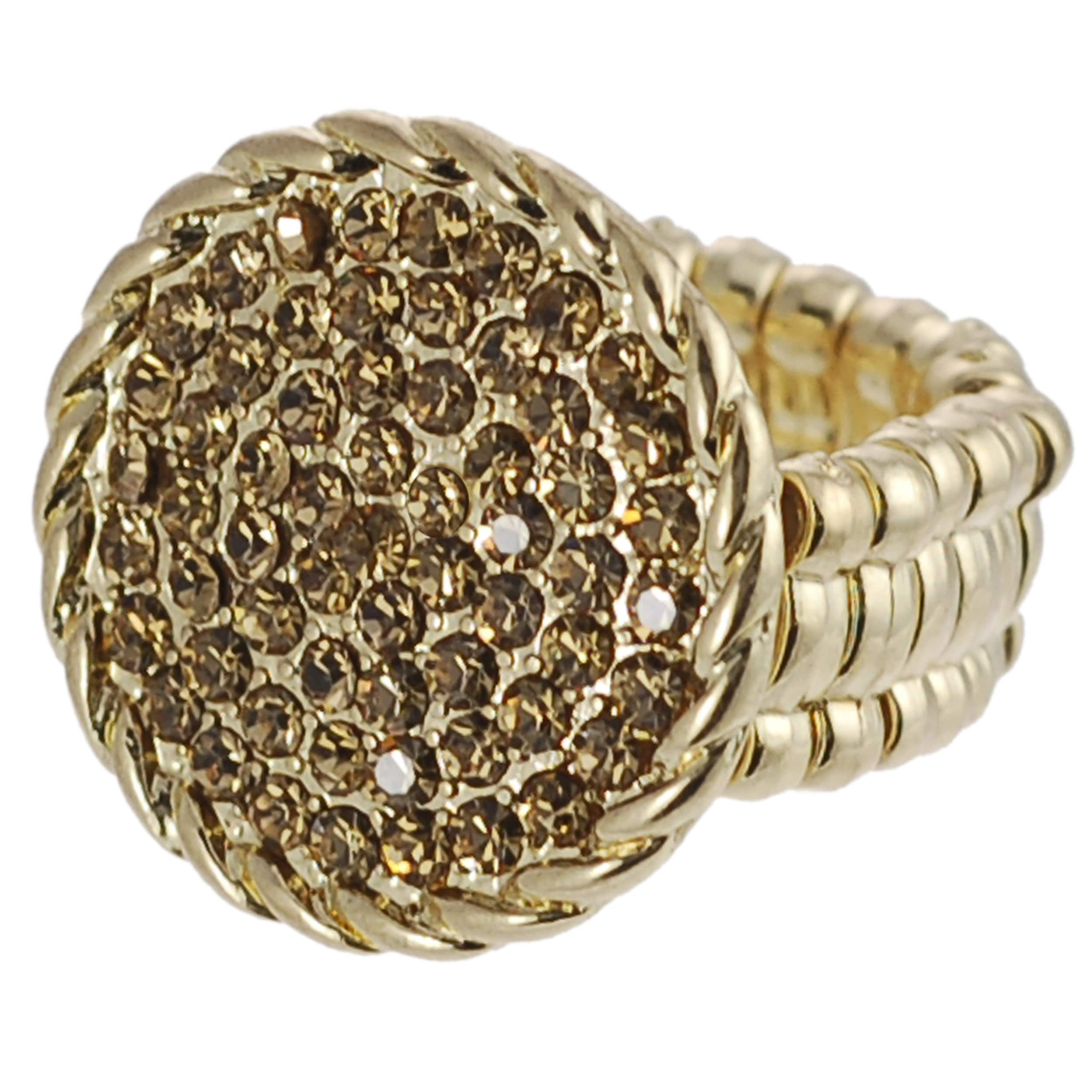 Journee Collection Goldtone Yellow Rhinestone Vintage Stretch Ring