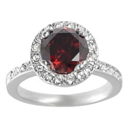 Journee Collection Rhodium-plated Red Cubic Zirconia Ring