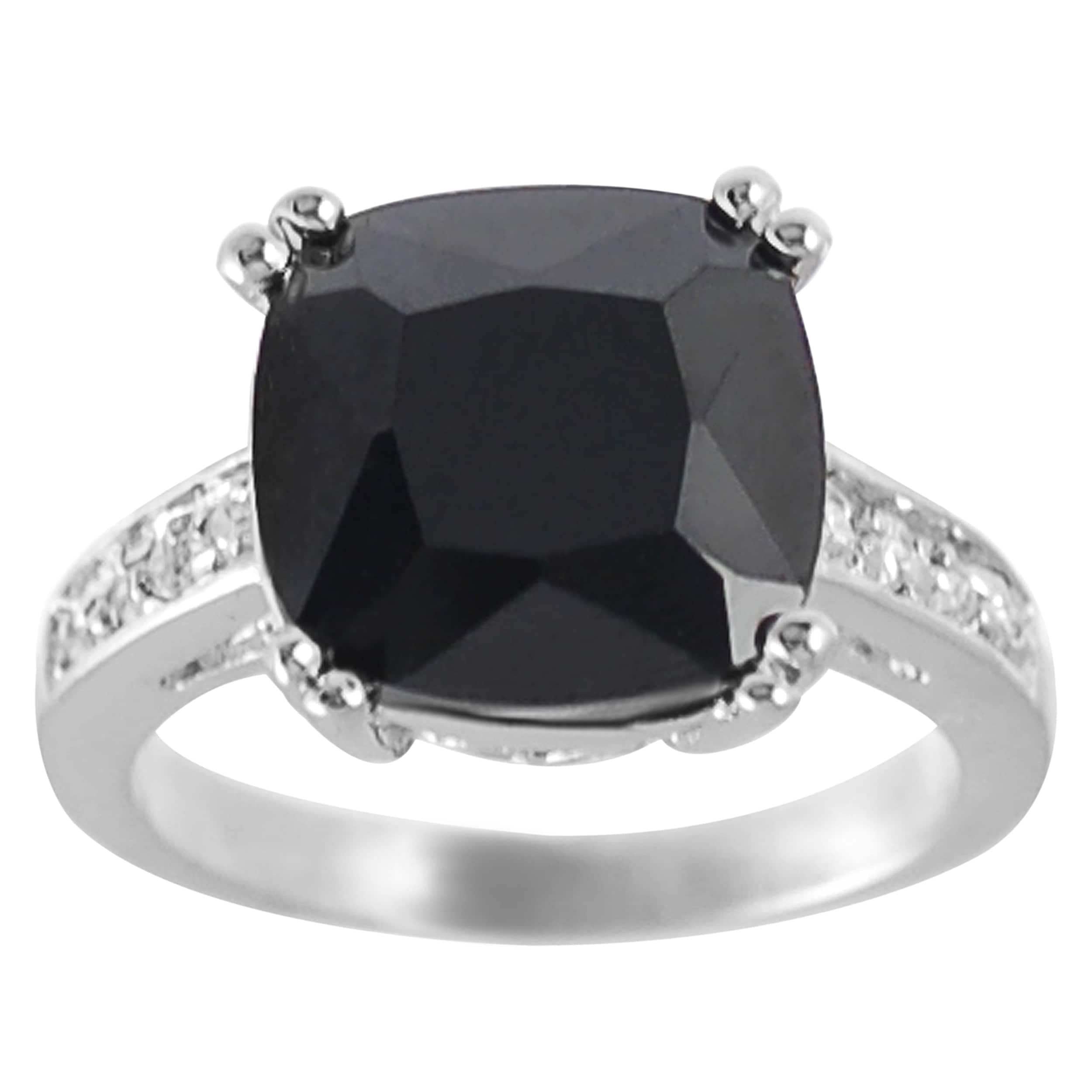 51f084c8a71 Shop Journee Collection Rhodium-plated Black Cushion-cut CZ Ring - Free  Shipping On Orders Over  45 - Overstock - 6719298