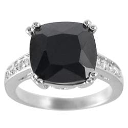 Journee Collection Rhodium-plated Black Cushion-cut CZ Ring
