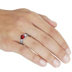 Journee Collection Rhodium-plated Red Cubic Zirconia Twist Ring