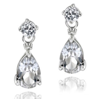 Glitzy Rocks 18k Gold or Silver Gemstone and Diamond Accent Teardrop Earrings (5 options available)