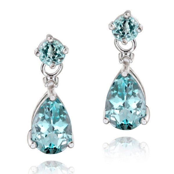 Glitzy Rocks 18k Gold or Silver Gemstone and Diamond Accent Teardrop Earrings