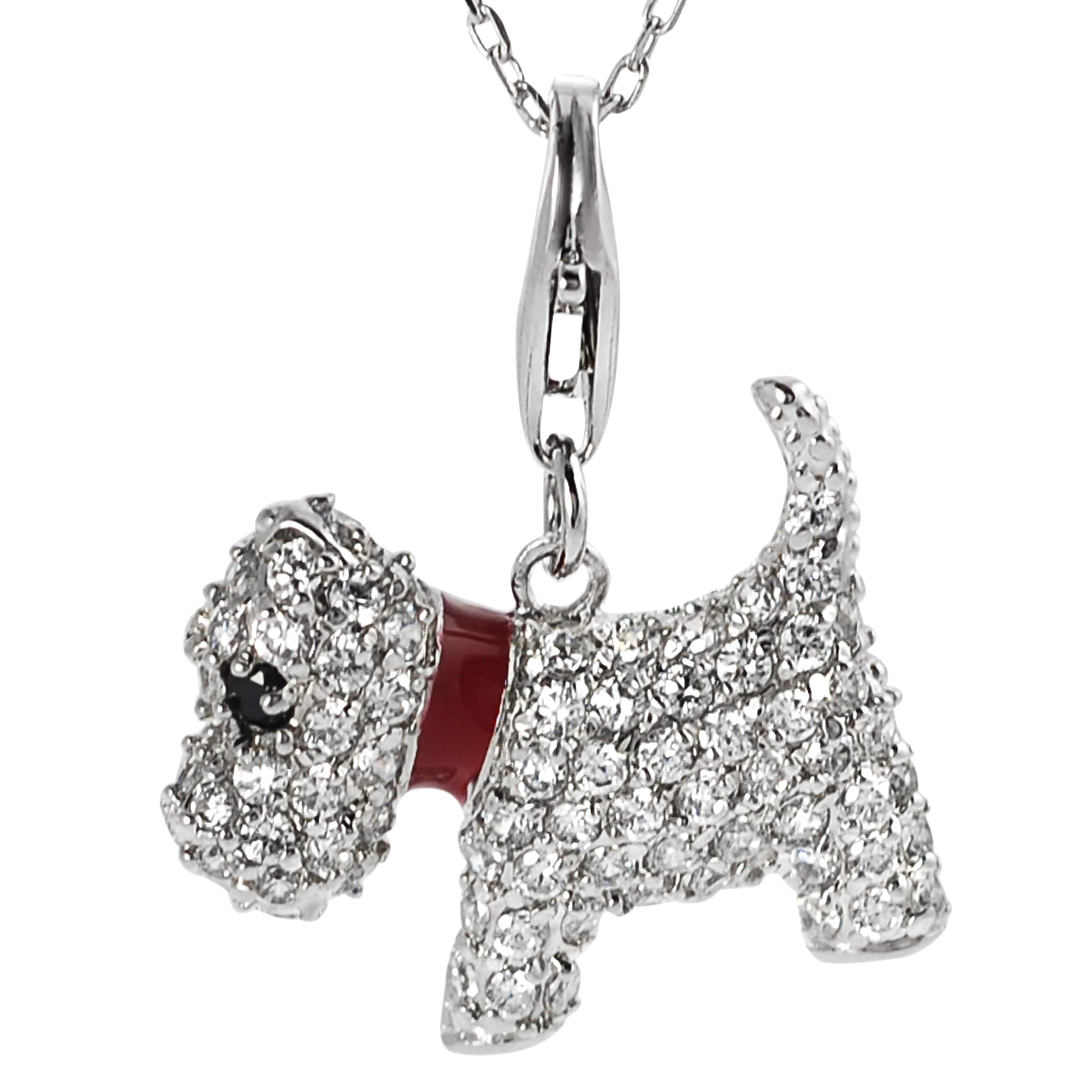 Journee Collection Sterling Silver Cubic Zirconia Scottish Terrier Dog Neckla
