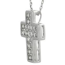 Journee Sterling Silver White Cubic Zirconia Cross Necklace