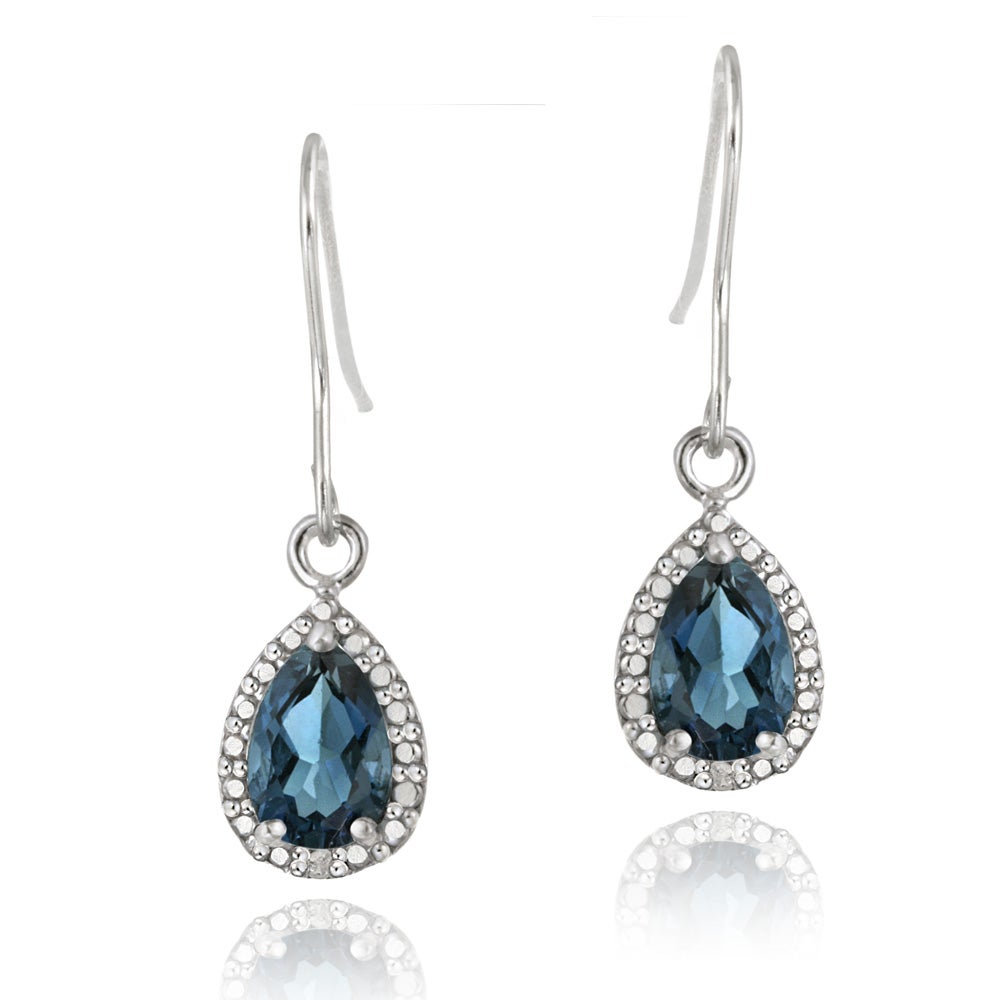 Glitzy Rocks Silver 3ct TGW London Blue Topaz and Diamond Earrings - Thumbnail 0