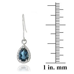 Glitzy Rocks Silver 3ct TGW London Blue Topaz and Diamond Earrings - Thumbnail 2