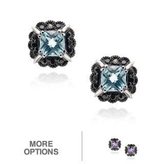 Glitzy Rocks Silver Gemstone and Black Diamond Accent Stud Earrings