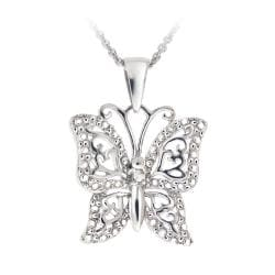 DB Designs Sterling Silver Diamond Accent Filigree Butterfly Necklace