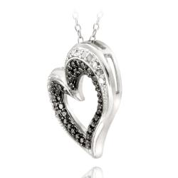 DB Designs Sterling Silver 1/10ct TDW Black and White Diamond Heart Necklace (J, I3)