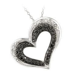 DB Designs Sterling Silver 1/10ct TDW Black and White Diamond Heart Necklace