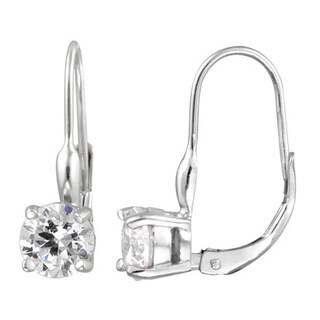 Icz Stonez Gold over Silver/ Sterling Silver CZ Leverback Earrings