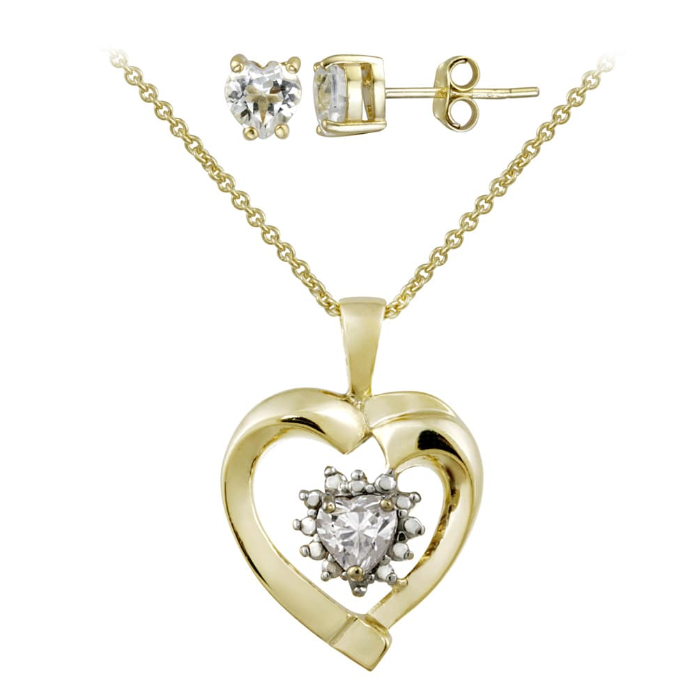 Glitzy Rocks Gold over Silver White Topaz and Diamond Heart Jewelry Set - Thumbnail 0