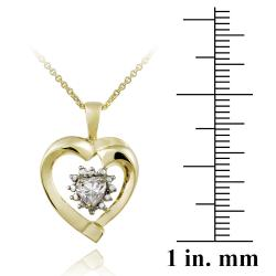Glitzy Rocks Gold over Silver White Topaz and Diamond Heart Jewelry Set - Thumbnail 1