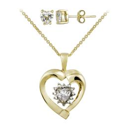 Glitzy Rocks Gold over Silver White Topaz and Diamond Heart Jewelry Set