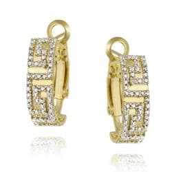 DB Designs 18k Gold over Silver White Diamond Accent Greek Key Hoop Earrings