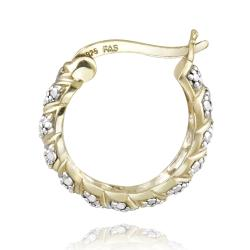 DB Designs 18k Yellow Gold over Silver Diamond Accent San Marco Hoop Earrings - Thumbnail 1