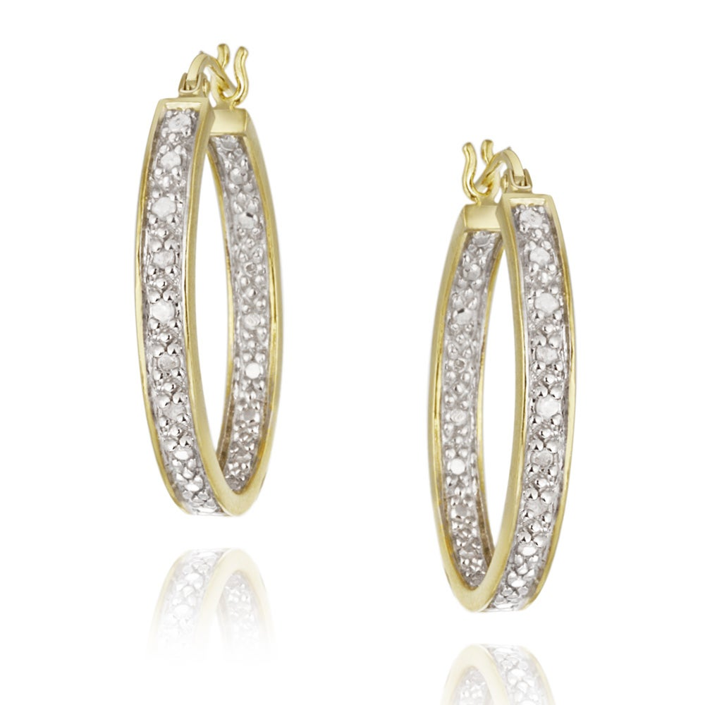 DB Designs 18k Yellow Gold over Silver 1/8ct TDW Diamond Oval Hoop Earrings