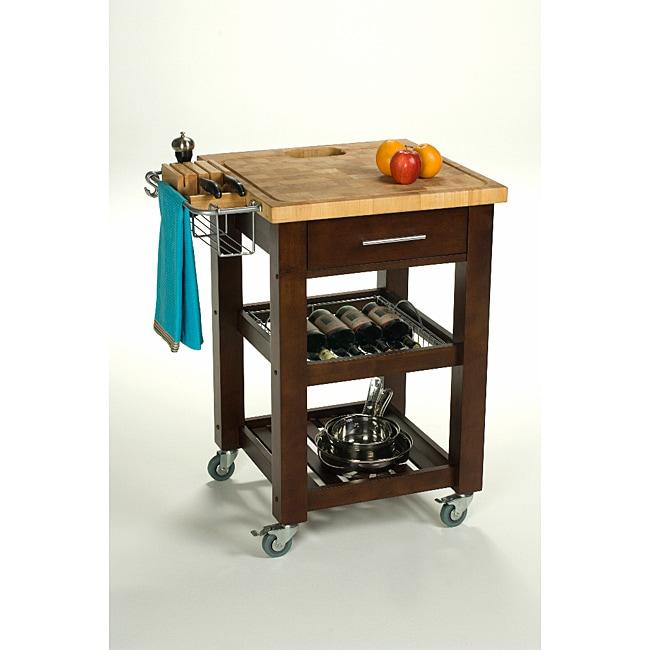 Chris & Chris 24x24-inch Espresso Finish Pro Chef Kitchen Work Station