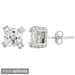 Icz Stonez Gold over Silver 6 5/8ct TGW Cubic Zirconia Square Earrings