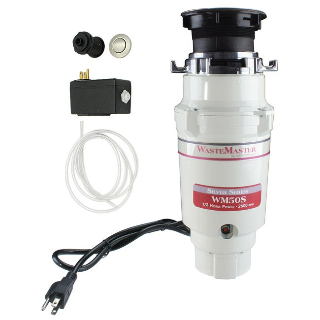 WasteMaster WM50S 1/2-HP Food Waste Disposer Garbage Disposal with Stainless Steel Air Switch Kit