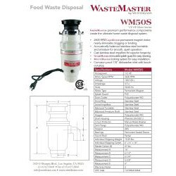 WasteMaster WM50S 1/2-HP Food Waste Disposer Garbage Disposal with Stainless Steel Air Switch Kit - Thumbnail 1