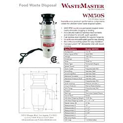 WasteMaster 1/2-HP Food Waste Disposer Garbage Disposal with Chrome Air Switch Kit