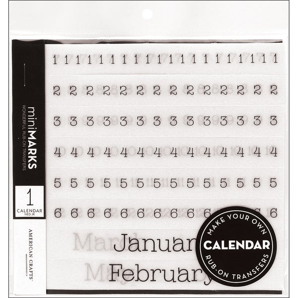 Mini-Marks Rub-On Transfer Books-Calendar Numbers and Months