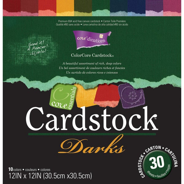 Core Essentials 'Darks' Cardstock 12X12in
